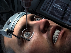 In this scene from Dead Space 2, the player must insert a needle into the eye of the protagonist. This sequence can result in the character being killed in spectacularly gory fashion.